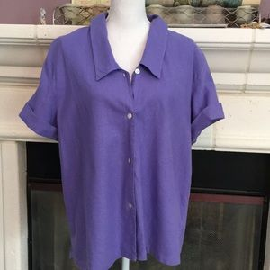 Lovely Lavender linen blend top w/cuffable sleeves
